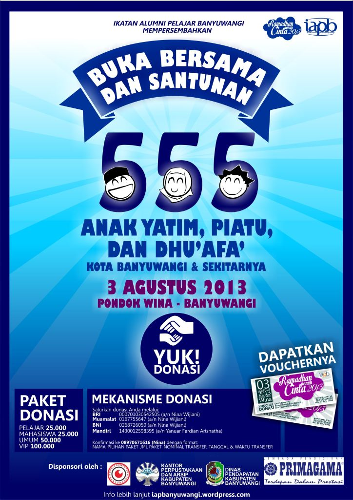 poster publikasi Buka Bersama dan Santunan 555 YPD Kota Banyuwangi dan Sekitarnya :)